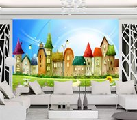 Wholesale cartoon sound effects - Custom Mural Wallpaper Roll 3D Embossed Non-woven Cartoon House Bright Color Mural Kids Wall Paper Home Decor TV Sofa Backdrop
