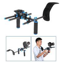 держатель видеокамеры оптовых-Видео плечо крепление поддержка буровой установки Stablizer с 15 мм стержень двойной ручной рукояткой набор C-образный держатель для DSLR камеры видеокамеры
