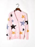 suéter negro botones de oro al por mayor-Envío gratis 2018 rosa / negro / blanco Pentagram jacquard mujeres Cardigans marca mismo estilo Gold Line botones mujeres suéteres DH081413
