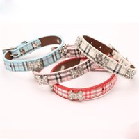 Wholesale blue leather dog collars for sale - Group buy Pet Supplies Square Drills Bone Dog Collar Adjustable Classical Plaid Leather Pets Collars Puppy Chain dx gg