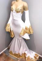 ingrosso più dimensione manca abiti-2018 Plus Size Prom Dresses Abito da sera a sirena in pizzo bianco e oro con maniche lunghe