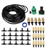 Wholesale Copper Spray - 20M Copper Nozzle Irrigation System Portable Misting Automatic Watering Garden Hose Spray Head with 4 7mm Tee And Connector