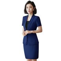 91118ac9f Trajes formales de verano para mujeres Casual Oficina Trajes de negocios  Conjuntos de ropa de trabajo Estilos uniformes Traje ElePant Negro Caqui  Azul