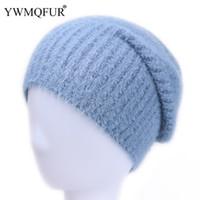 chapeaux de vison pour les femmes achat en gros de-YWMQFUR Hiver Femmes Solide Tricot Bonnets Chapeaux Vintage Mink Artificielle Velours Coton Lady Chapeaux Femme Skullies Chapeau 2018 Vente Chaude