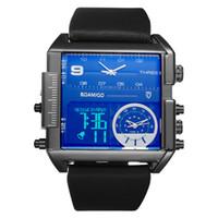 reloj de la marca boamigo al por mayor-BOAMIGO marca hombres deportes relojes 3 zona horaria grande reloj de pulsera de cuero reloj de pulsera de cuarzo relojes a prueba de agua masculino