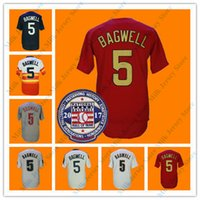 parches navy al por mayor-Jeff Bagwell Jersey con el parche Hall of Fame 2017 # 5 Cooperstown Baeball Jerseys blanco gris marino malla roja