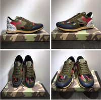 Wholesale rock band shoes - 2018 New Lovers Sneakers Trainers Starstudded Leather Rock Runner Shoes Camo Camouflage Sneakers And Studded Rockrunner Casual Walking Flats