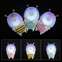 Wholesale night light electric - Hot Handy USB charge Fan Mini Bee Handle Charging Electric Fans Thin Handheld Portable Luminous Night Light For Home Office Gifts 3 Colors