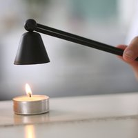 Wholesale float candle holder - Metal Plated Candle Flame Snuffer Stainless Steel Candle Suppressor Candles Safety Extinguish Tools Candles Accessories For Party