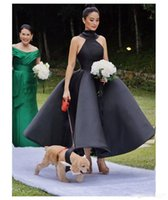 halter dresses NZ - Charming Black Bridesmaid Dresses with Big Bow Back Ankle Length Halter Satin Wedding Guest Gowns Sexy A Line Country Maid Of Honor Gown