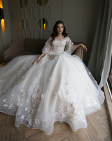 Wholesale wedding dresses flowered covered train resale online - Ivory A Line Tulle Off Shoulders Wedding Dresses with Lace Flowers Short Sleeves Long Sweep Train Bridal Gowns Summer Beach Garden Wear