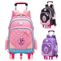 cf74c94f08 Children Trolley School Bags Mochilas 2 6 Wheels Trolley Luggage For  Cartoon Girls backpack Escolar High Quality Schoolbag