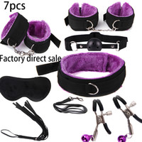 Wholesale bdsm tie resale online - 7 Set Nylon Tying Erotic Toys For Adults Sex for s Nipple Clamps Whip Mouth gag Sex mask Bdsm Bondage Set S19706