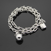 Wholesale bracelet pads for sale - Group buy 2018 New arrival L stainless steel bracelet with pad lock and ball with logo for women and man bracelet in cm length wedding jewelry P