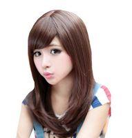 hermosas mujeres de pelo largo al por mayor-Free shipping ++++ Women Beautiful Fashion Long Brown Hair Sexy Girl Cosplay Anime peluca pelucas naturales