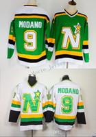 ingrosso maglie del nord del minnesota-Men Minnesota North Stars Maglie Hockey su Ghiaccio a buon mercato 9 Mike Modano Vintage CCM Maglie autentiche maglie cucite