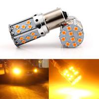 Wholesale 1156 amber led - 1156 LED Canbus Error free BA15S BAU15S LED P21W S25 35SMD 3030 LED Auto Brake Reverse Lamp Rear Parking Bulbs Amber Yellow