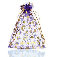 bolsas de regalo estrella púrpura al por mayor-25 Unids 13 cm x 18 cm Púrpura MoonStar Organza Regalo Bolsas de Joyería Bolsas de Boda / Navidad Fina Regalos Paquete de Almacenamiento Organizador