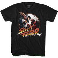 Wholesale arcade street games resale online - Street Fighter Video Martial Artist Arcade Game Punchy Black Adult T shirt Tee T Shirt Fashion