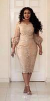 ingrosso la sposa veste i manicotti di lunghezza del tè-Abiti da festa per signora Champagne Abiti per la madre della sposa Abiti da cerimonia per lo sposo