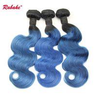 ingrosso capelli azzurri del corpo brasiliano-Brasiliani dell'onda del corpo umano Bundles Ombre T1B blu tonica colore dell'onda del corpo estensioni dei capelli peruviani malesi indiani all'ingrosso economici tesse