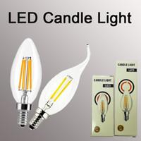 flame lamps 2018 - Filament candle bulb E14 2 4 6W Edison COB Filament Retro LED Light Candle Flame Bulb Lamp