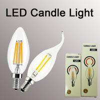 ingrosso filamento della lampada-Lampadina a filamento E14 2/4 / 6W Edison COB Filament Retro LED Light Candle / Flame Lampadina