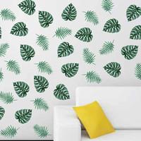 роспись зеленых листьев оптовых-60X80cm Green Banana Leaf Wall Stickers Palm Leaves Wall Decal Plant Art Home Decor Removable Mural Banana Leaf Stickers