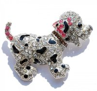 Wholesale Large Animal Brooch - Wholesale- Animal brooch pins cute black dog silver plated large rhinestone brooch for women gift crystal brooches jewelry