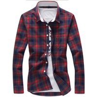 Wholesale checkered long sleeve cotton resale online - 5xl Plaid Shirts Men Checkered Shirt Brand New Fashion Button Down Long Sleeve Casual Shirts Plus Size Drop Shipping