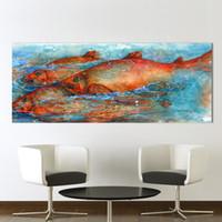 büyük tuval boyama duvar dekor toptan satış-1 Adet Tuval Sanat Duvar Resimleri Için Oturma Odası Hayvan Boyama Büyük Balık Ev Dekor Baskı Hiçbir Çerçeve