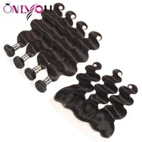 Wholesale hot human body - Hottest 9a Grade Peruvian Human Hair Weave Bundles with Frontal Peruvian Body Wave Virgin Hair Extensions and 13x4 Frontal Weaves Closure