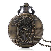modelos de relógio feminino venda por atacado-Fashoin Roda Design Romântico Relógio De Bolso De Quartzo para Homens Mulheres com London Ferris Bronze Relógio para Presentes Do Vintage