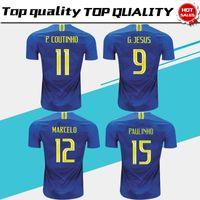 Wholesale grey m - 2018 World Cup Away Soccer Jersey #11P.COUTINHO Soccer shirt #3 T.SILVA #9 G.JESUS Away Blue Football Uniforms