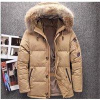 büyük kürk ceket ceketi toptan satış-Kış Büyük Hakiki Kürk Hood Ördek Aşağı Ceketler Erkekler Sıcak Yüksek Kalite Aşağı Palto Erkek Rahat Kış Outerwer Parkas