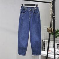 mavi harem pantolon kadınlar toptan satış-Kadınlar Için gevşek Kot Yüksek Bel Kot Kadın Mavi Denim Harem Pantolon Elastik Bel Kadın Pantolon Calca Feminina WJ80
