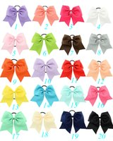 Wholesale rubber chemicals for sale - 20Pcs Inch Large Solid Cheerleading Ribbon Bows Grosgrain Cheer Bows Tie With Elastic Band Girls Rubber Hair Band Beautiful