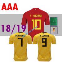 Wholesale camisetas futbol thai quality - top thai 2018 2019 jersey home away THAI quality soccer jerseys DE BRUYNE E HAZARD LUKAKU Belgium football shirt Camisetas de futbol jerseys
