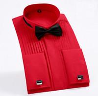 Wholesale red tuxedo shirts - Mens Tops Long Sleeved Pure Colors Wedding Tuxedo Shirt New Hot Sell Men Wedding Shirts