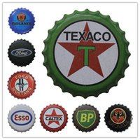 Wholesale Food Paint - Bacardi Paulaner Ford Texaco Esso BP Beer Bottle Cap Vintage Tin Signs Bar Food Shop Room Wall Decor Poster Signs for Bar