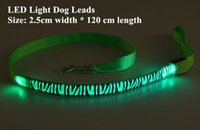 Wholesale rechargeable led dog collar for sale - B11 Zebra pattern Pet dog LED leahses leads pet traction rope pull strap for dogs cats cm length battery and USB Rechargeable
