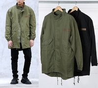 Wholesale Green Short Trench Coat - Men's Army Green Hooded Jacket Long Trench Jacket Coat KANYE WEST Dovetail Short Necked Collar Coat Free Shipping