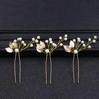 Perles couleur or FEUILLES Accessoire pour cheveux épingles à cheveux Bijoux Cheveux Stick