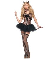 8c43a7228341a Burlesque leopar baskı korseler Seksi Feral Charm Leopar Deluxe  şekillendirme Hayvan Kostüm Tutu Etek ile