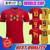 Wholesale top green soccer jerseys - Belgium 2018 World Cup Home red top Thailand Quality LUKAKU FELLAINI E.HAZARD KOMPANY DE BRUYNE Soccer Jersey 18 19 Belgium football shirt