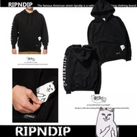 Wholesale Cheap Long Sleeve Pullover Sweater - European and American tide Rip N Dip middle finger cat pockets cheap cat embroidery cat lined sweater
