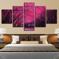 Wholesale paintings tropical seascapes for sale - Group buy Canvas HD Prints Paintings Wall Art Pieces Tropical Trees Route Posters Purple Forest Landscape Pictures Home Decor Framework