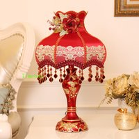 Wholesale red rose led lights for sale - Group buy Bedroom decorative Table lamps red lampshades for Table lamp Personality wedding room Modern led Light bedside lamp led light up rose