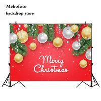fondos impresos por ordenador al por mayor-Mehofoto Merry Christmas Backdrops para fotografía Fondo de foto de Red Bell para fotos Studio Computer Printed Winter 861