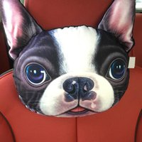 Wholesale husky car - 2018 Car Headrest Pillow Head Neck Rest Headrest Pillow Seat Back Lovely Dog Cat Animal Huskies Gift Present 3D Car Styling